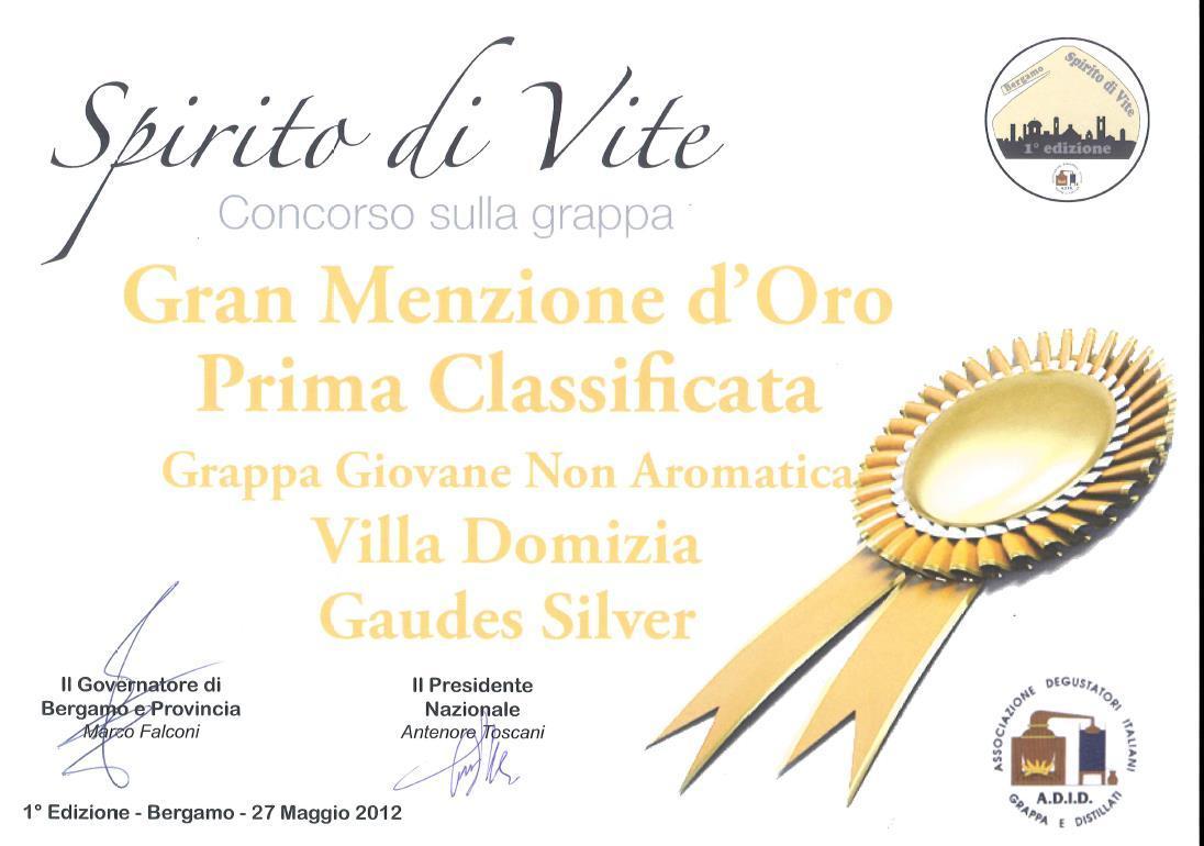 """1st provincial contest """"Spirito di Vite"""" – Golden Medal to Silver Gaudes Grappa"""