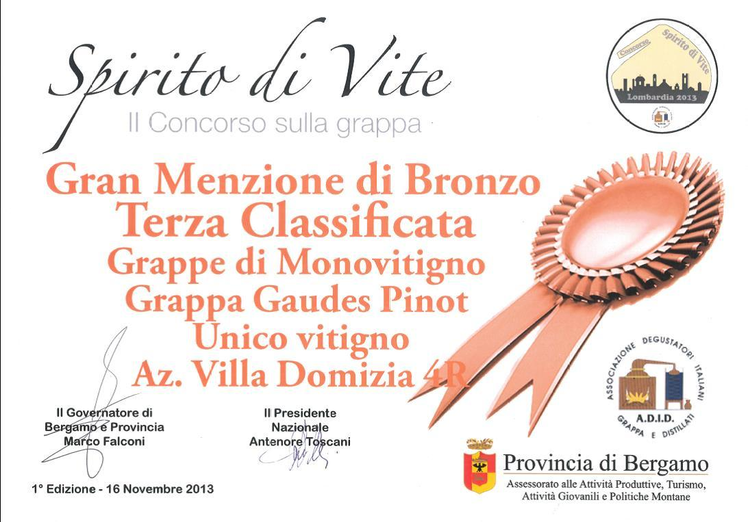 "1st regional contest ""Spirito di Vite"" – Bronze Medal to Gaudes Pinot"