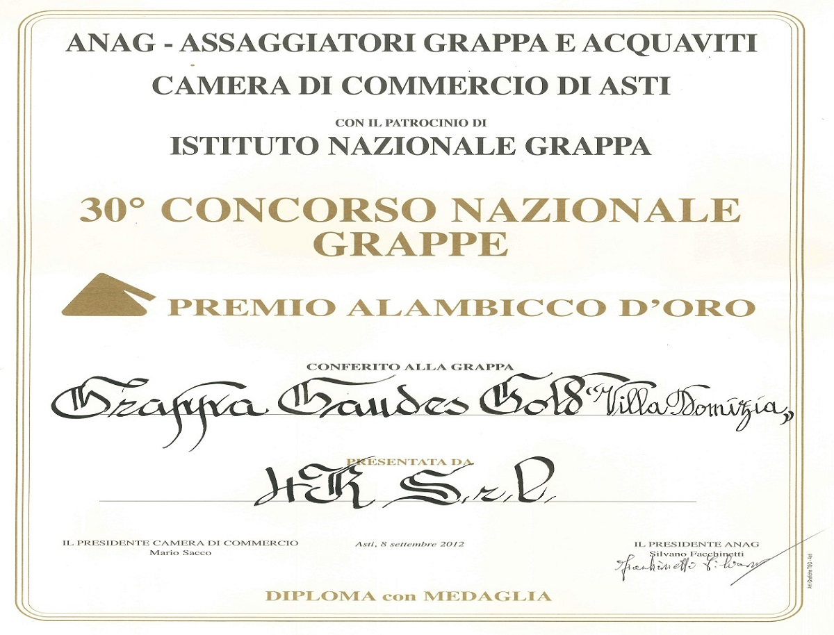 "30th National Contest ""Alambicco d'Oro"" – Golden Medal to Gold Grappa"