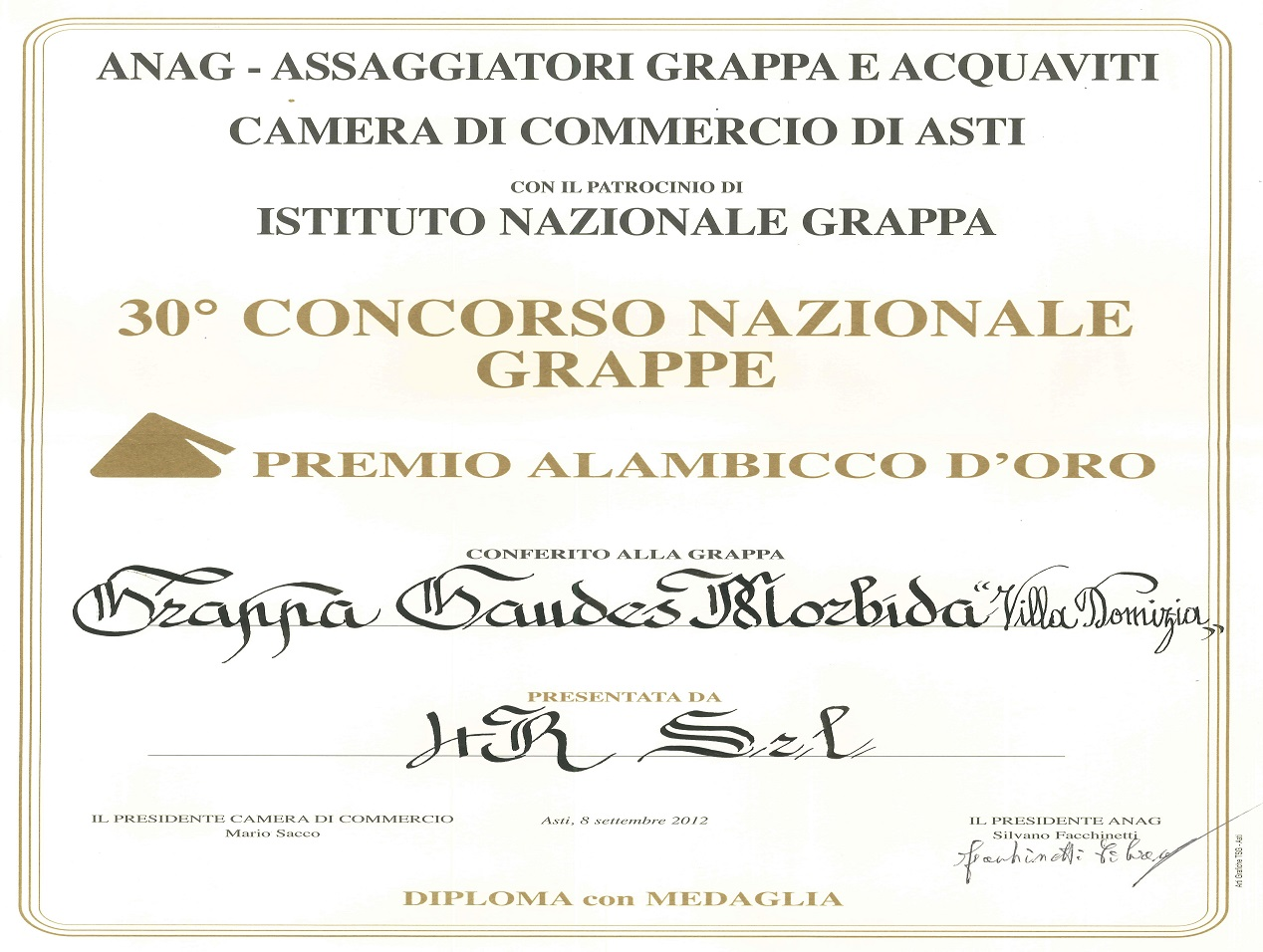 "30th National Contest ""Alambicco d'Oro"" – Golden Medal to Soft Grappa"