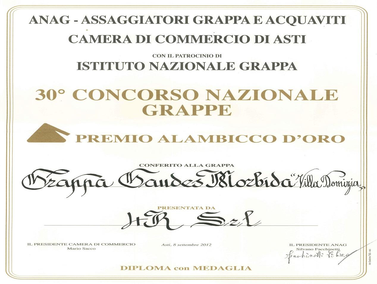 30° Concorso Nazionale Alambicco d'Oro - Oro Grappa Morbida