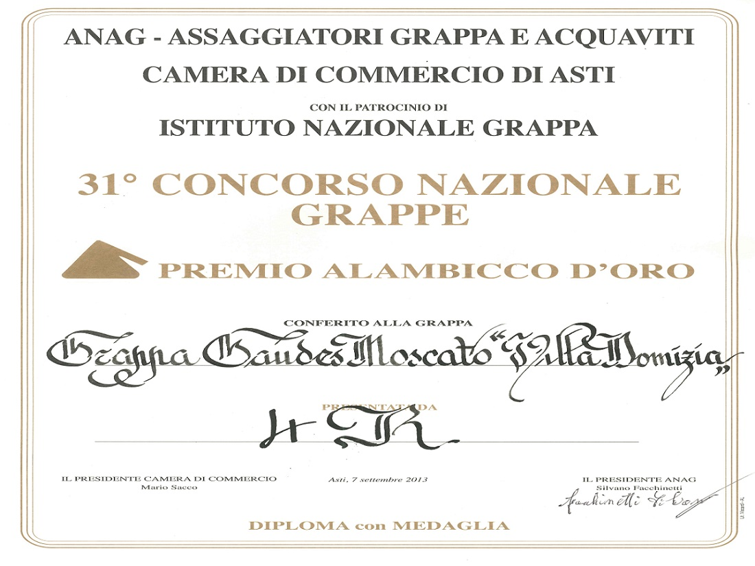 "31st national contest ""Alambicco d'Oro"" – Golden Medal to Moscato Grappa"