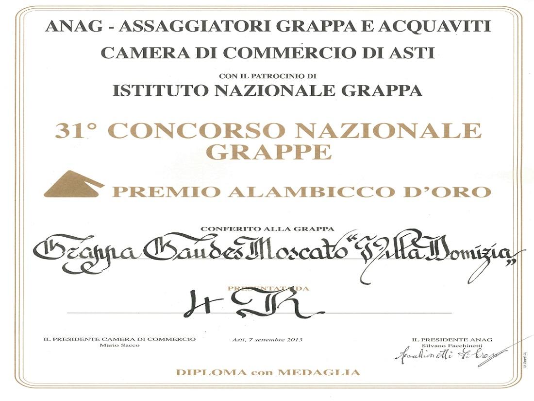 31° Concorso Nazionale Alambicco d'Oro - Oro Grappa Moscato