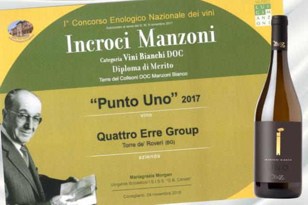 """PUNTO UNO: DIPLOMA DI MERITO AL CONCORSO """"INCROCI MANZONI""""."""